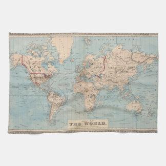 Mapa del mundo en la proyección de Mercator Toalla De Cocina