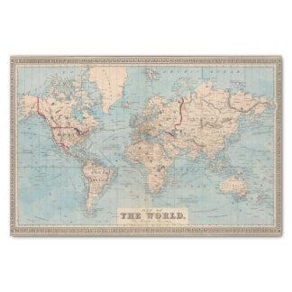 Mapa del mundo en la proyección de Mercator Papel De Seda Pequeño