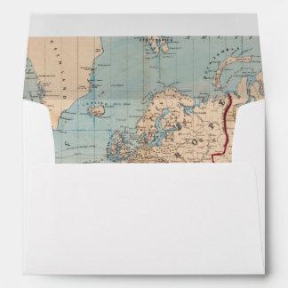 Mapa del mundo en la proyección de Mercator Sobres