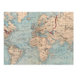 Mapa del mundo en la proyección de Mercator Postales