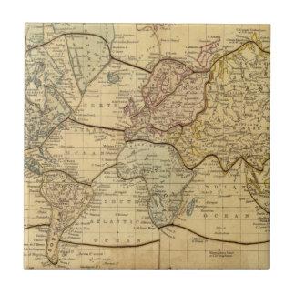 Mapa del mundo en la proyección de Mercators Azulejo Cuadrado Pequeño