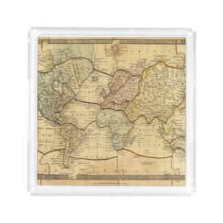 Mapa del mundo en la proyección de Mercators Bandeja Cuadrada