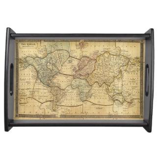 Mapa del mundo en la proyección de Mercators Bandejas