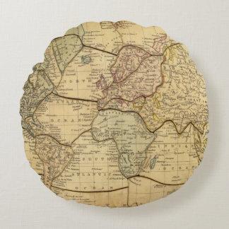Mapa del mundo en la proyección de Mercators Cojín Redondo
