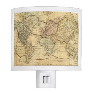 Mapa del mundo en la proyección de Mercators Lámparas De Noche