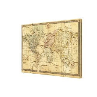 Mapa del mundo en la proyección de Mercators Lienzo Envuelto Para Galerías