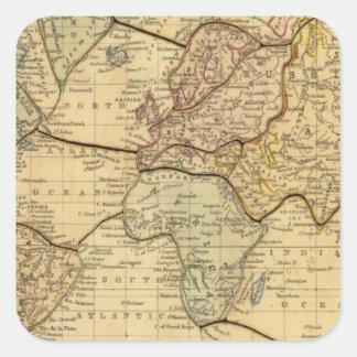 Mapa del mundo en la proyección de Mercators Pegatina Cuadrada