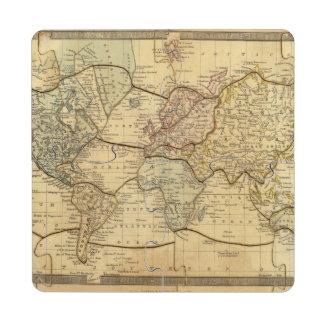 Mapa del mundo en la proyección de Mercators Posavasos De Puzzle