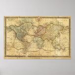 Mapa del mundo en la proyección de Mercators Póster