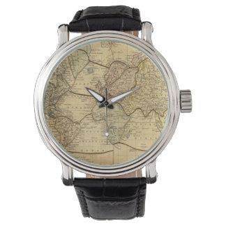 Mapa del mundo en la proyección de Mercators Reloj