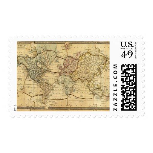Mapa del mundo en la proyección de Mercators Timbre Postal