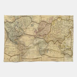 Mapa del mundo en la proyección de Mercators Toallas De Cocina