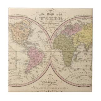 Mapa del mundo en la proyección globular 2 azulejo