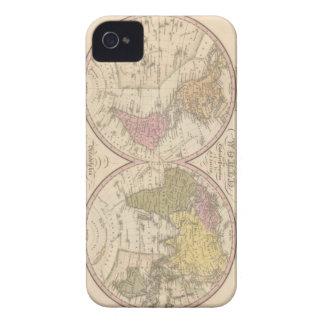 Mapa del mundo en la proyección globular 2 iPhone 4 carcasa