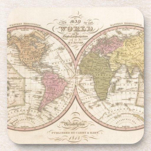 Mapa del mundo en la proyección globular 2 posavasos de bebidas