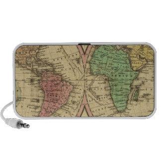 Mapa del mundo en la proyección globular altavoces de viajar