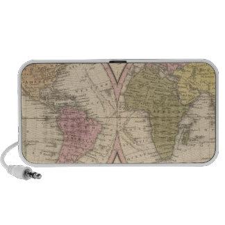 Mapa del mundo en la proyección globular portátil altavoz