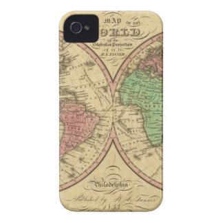 Mapa del mundo en la proyección globular Case-Mate iPhone 4 coberturas