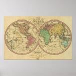 Mapa del mundo en la proyección globular impresiones