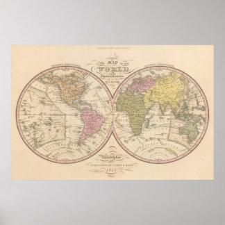 Mapa del mundo en la proyección globular poster