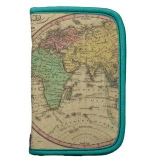 Mapa del mundo en la proyección globular planificador