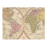 Mapa del mundo en la proyección globular postales