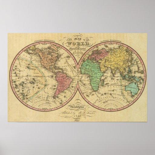 Mapa del mundo en la proyección globular póster