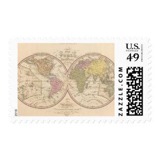 Mapa del mundo en la proyección globular sello postal