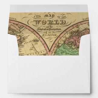 Mapa del mundo en la proyección globular sobres