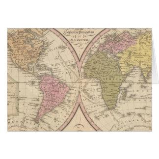 Mapa del mundo en la proyección globular tarjeta