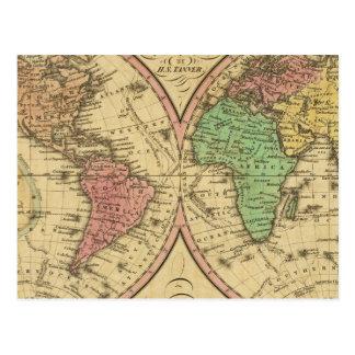 Mapa del mundo en la proyección globular tarjetas postales