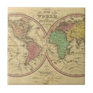 Mapa del mundo en la proyección globular teja