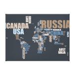 Mapa del mundo en palabras impresiones en lona estiradas