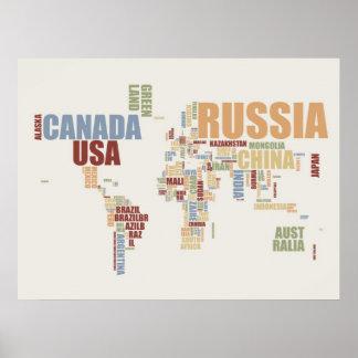 Mapa del mundo en palabras poster
