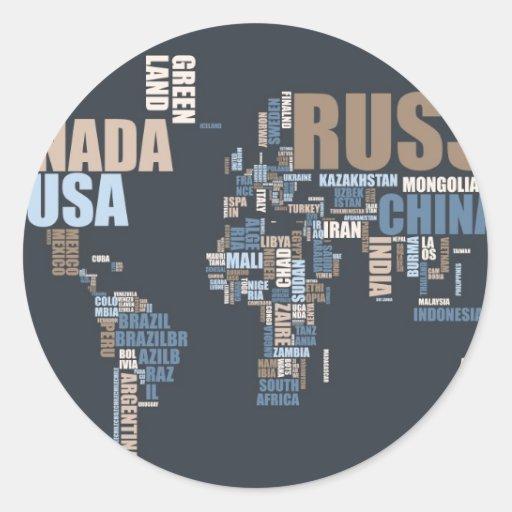 Mapa del mundo en palabras pegatinas redondas
