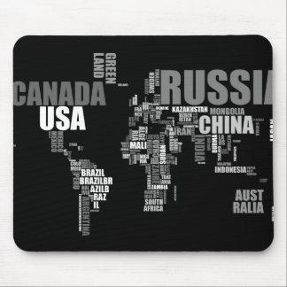 Mapa del mundo en palabras alfombrillas de raton