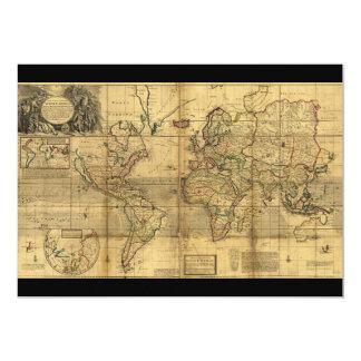 """Mapa del mundo entero del Moll de Herman (1719) Invitación 5"""" X 7"""""""