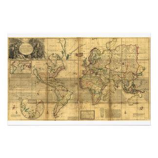Mapa del mundo entero del Moll de Herman (1719) Papelería Personalizada