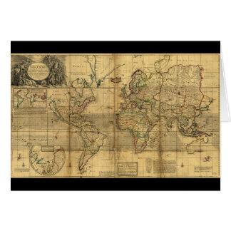 Mapa del mundo entero del Moll de Herman (1719) Tarjeta De Felicitación