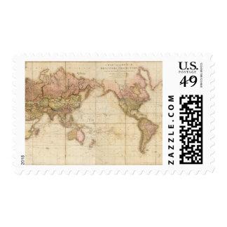 Mapa del mundo estampilla