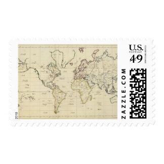 Mapa del mundo estampillas