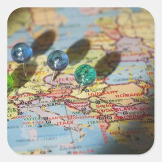 Mapa del mundo, Europa Pegatina Cuadrada