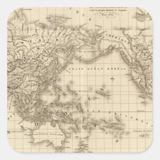 Mapa del mundo físico pegatinas cuadradas personalizadas