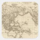 Mapa del mundo físico pegatina cuadrada