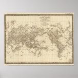 Mapa del mundo físico póster