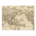 Mapa del mundo físico tarjeta postal