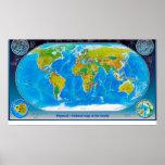Mapa del mundo físico y político impresiones