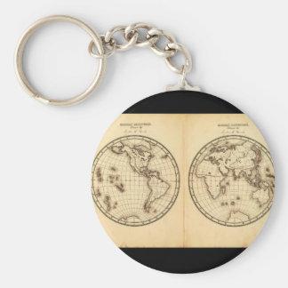 Mapa del mundo fósil 10_Maps de la antigüedad Llavero Redondo Tipo Pin