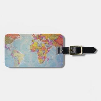 Mapa del mundo fresco etiquetas para maletas