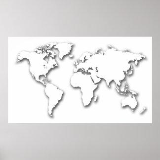 Mapa del mundo grabado en relieve blanco póster